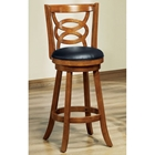 Loyalty Swivel Bar Stool - Dark Oak Finish, Black Seat (Set of 2)