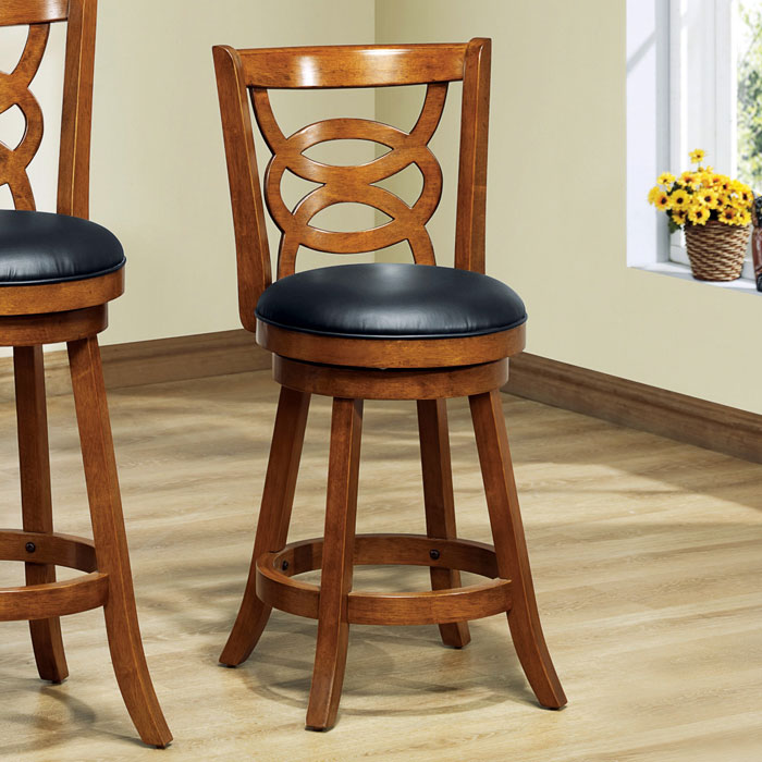 Loyalty Swivel Counter Stool - Dark Oak, Black Seat