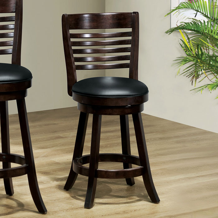 Piety 24'' Swivel Counter Stool - Cappuccino, Slat Back
