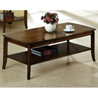 Chloe Wood Cocktail Table - Walnut Finish, Bottom Shelf