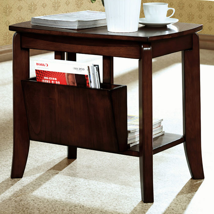 Chloe Wood Side Table - Walnut Finish, Magazine Holder