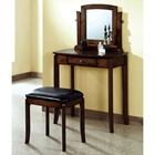 Chloe Vanity Table and Stool Set - Walnut, Dark Brown Seat
