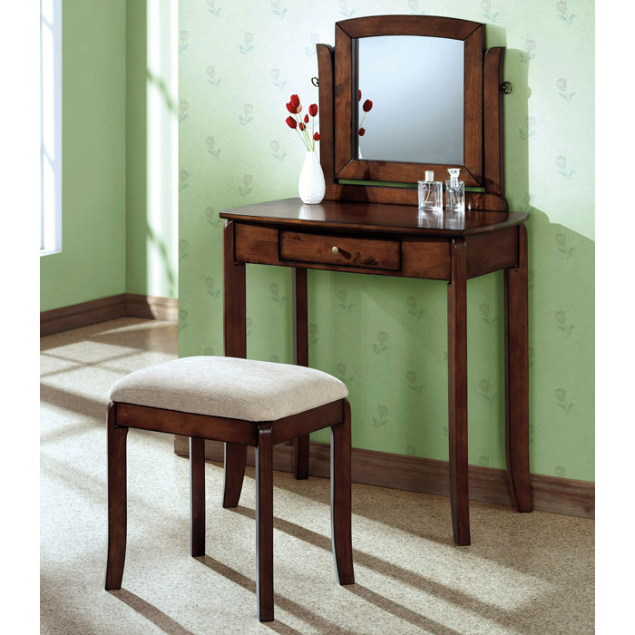 Chloe Vanity Table and Stool Set - Walnut, Beige Chenille