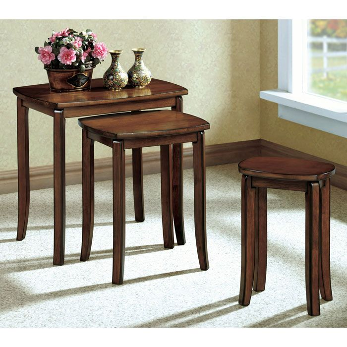 Chloe 3 Piece Nesting Tables Set - Walnut, Flared Legs
