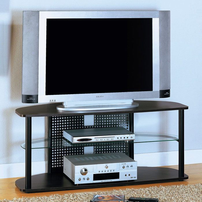 Valor TV Stand - Black Metal, Cappuccino Wood, Tempered Glass - MNRH-I-2032