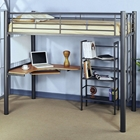 Affection Kids Loft Bed with Workstation & Bookcase - Silver, Metal
