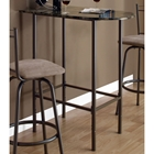 Bliss Half Racetrack Top Pub Table - Coffee Finish, Metal Base