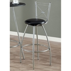 Astute Swivel Bar Stool - Silver Metal, Black Seat