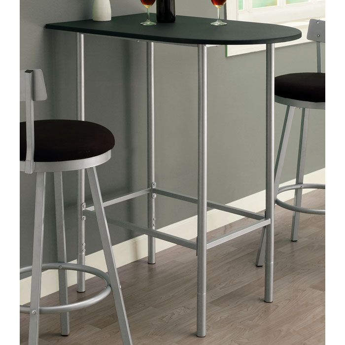 Retrospective Half Racetrack Pub Table - Black Top, Silver Metal