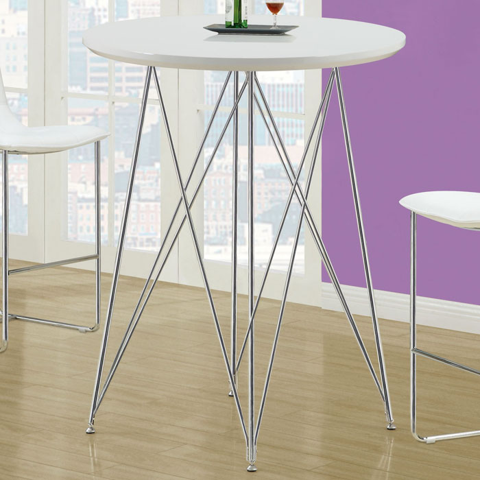 Blithe Round Top Bar Table - Chrome Base, Glossy White