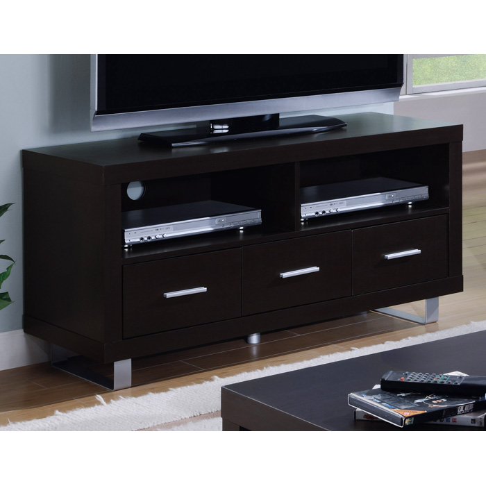 Chatoyant Contemporary TV Stand - 3 Drawers, Cappuccino