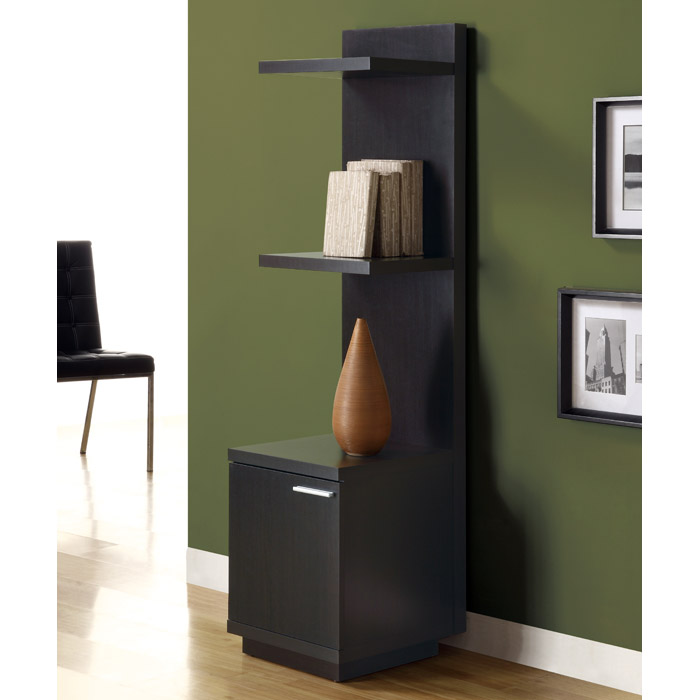 Dulcet Contemporary Display Tower - Cappuccino, Metallic Accent