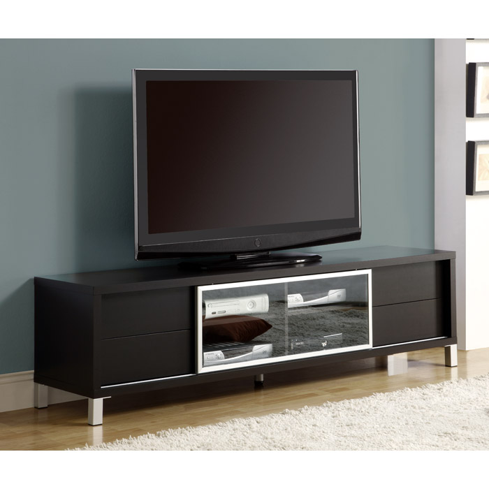 Germane Euro 70'' TV Console - Cappuccino, Glass Door
