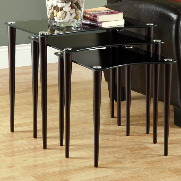 Aviana 3 Piece Nesting Tables Set - Black Glass, Cappuccino Legs - MNRH-I-3011