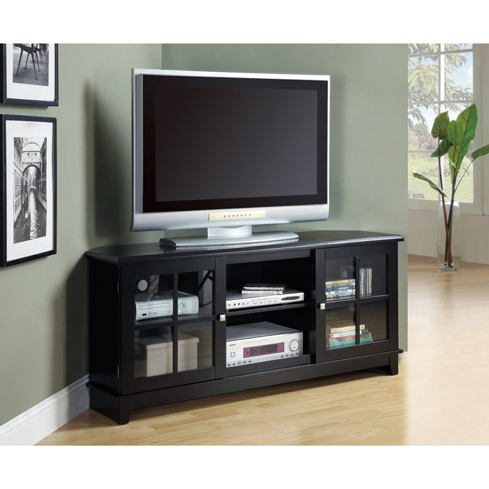 Frampton 60'' Corner TV Console - Midnight Black Finish - MNRH-I-3541