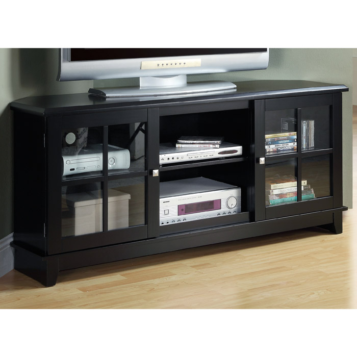 Frampton 60'' Corner TV Console - Midnight Black Finish