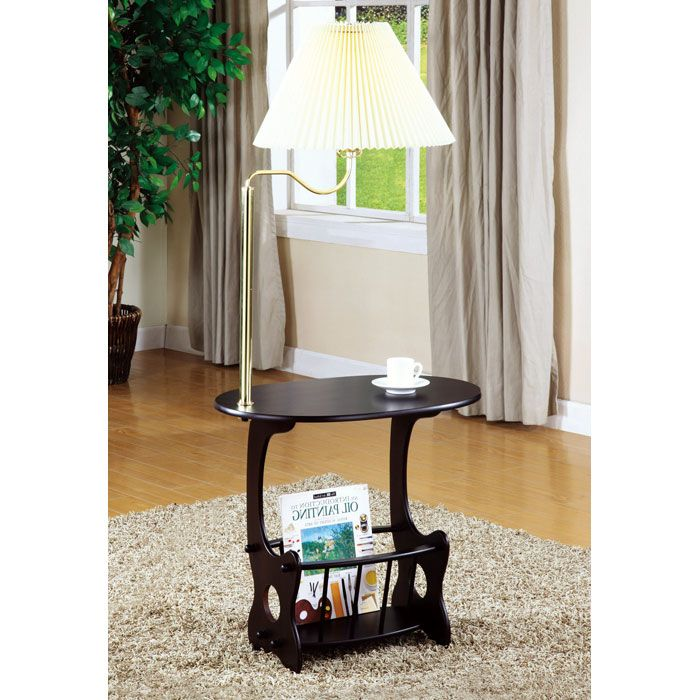 Wadsworth End Table with Lamp - Cappuccino
