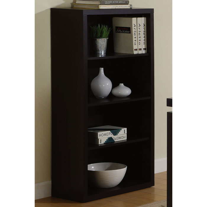 Arya 4-Tier Bookcase - Cappuccino, Adjustable Shelves - MNRH-I-7005