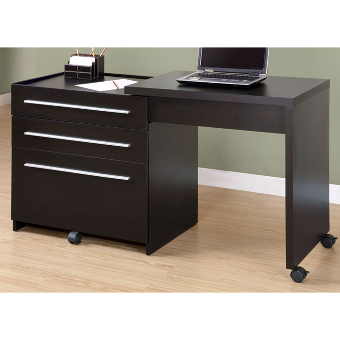 Friedrich Slide Out Desk with Pedestal - Cappuccino