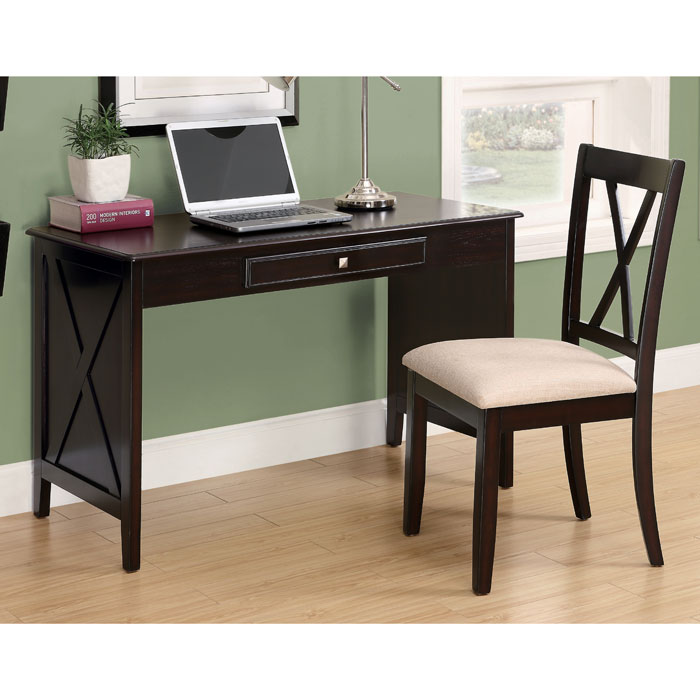 Nixon Desk and Chair Set - Dark Cappuccino Finish - MNRH-I-7131