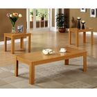 Penrose 3 Piece Coffee Table Set - Light Oak, Plank Style Top