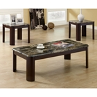 Strauss Coffee Table and End Tables Set - Glossy Chocolate Brown