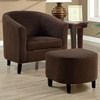 Laplace Armchair and Ottoman Set - Chocolate Brown Microfiber