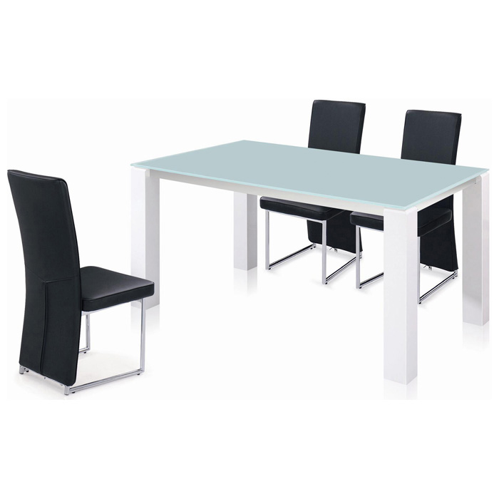Cafe 5 Piece Dining Set - Frosted Glass, Long Back Chairs - NSI-426002S