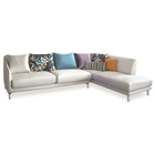 Allison Sectional Sofa - White Fabric, Right Facing Chaise