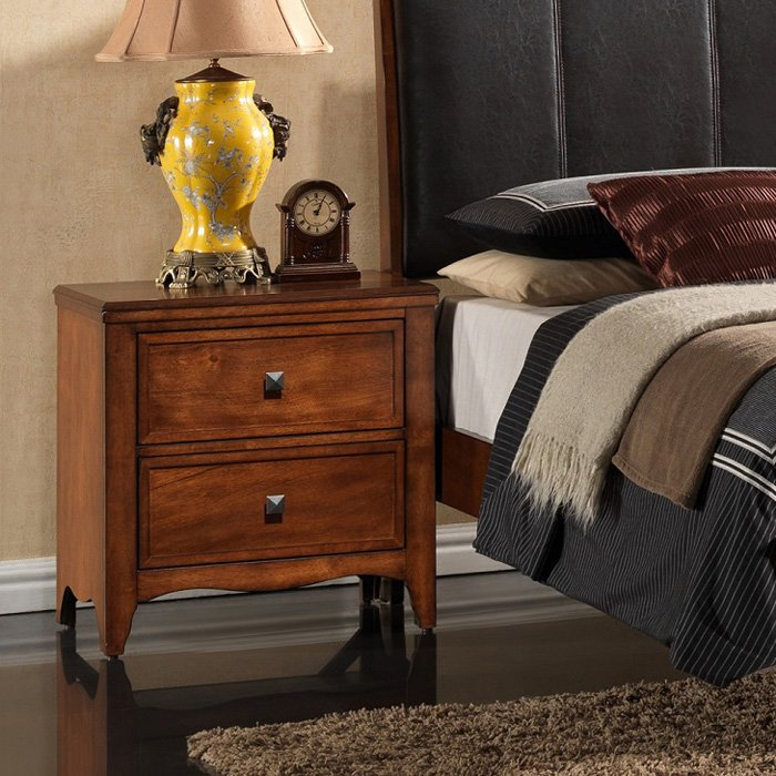 Auckland 2-Drawer Nightstand - Hardwood, Antique Oak Finish - NSI-517005BN