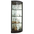 Mortimer Lighted Corner Display Curio - Hardwood, Glass