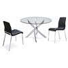 Cafe 5 Piece Dining Set - Round Glass, Black Chairs