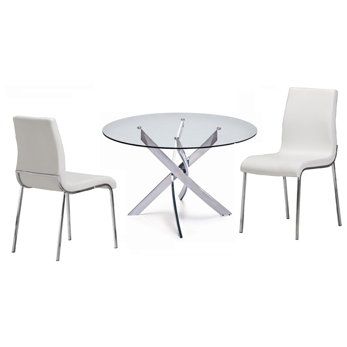 Cafe 5 Piece Dining Set - Round Glass, White Chairs