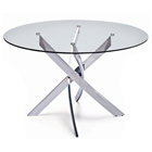 Cafe Round Dining Table - Tempered Glass, Chrome Legs
