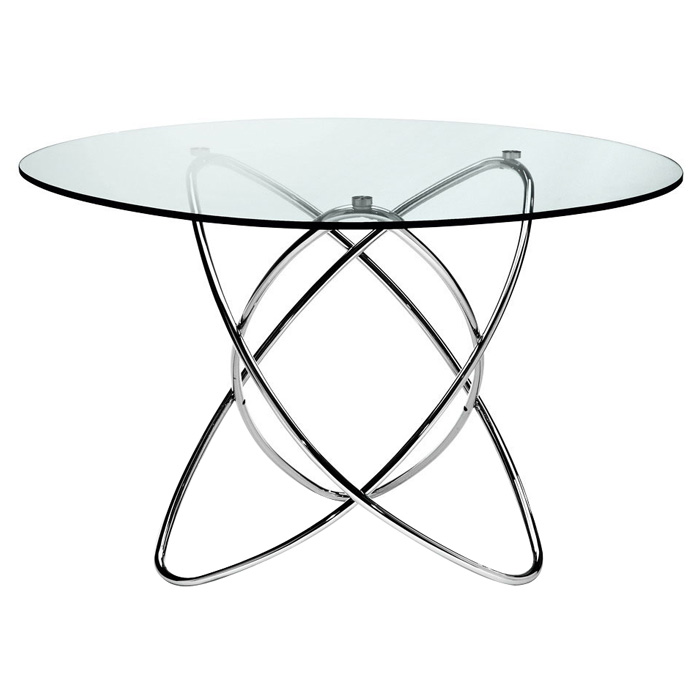 Cafe 5 Piece Dining Set - Round Glass, Chrome Rings Base, White - NSI-431007SW