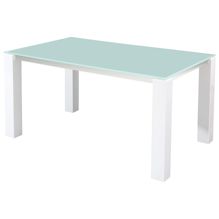 Cafe Rectangular Dining Table - Frosted Glass, Stainless Steel