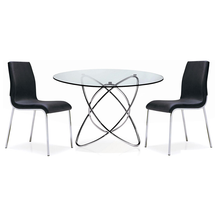 Cafe 5 Piece Dining Set - Round Glass, Chrome Rings Base, Black