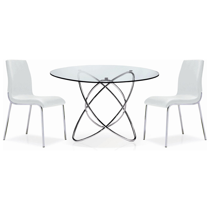 Cafe 5 Piece Dining Set - Round Glass, Chrome Rings Base, White