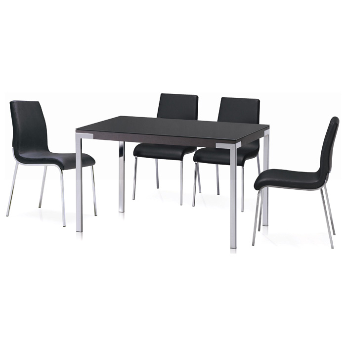 Cafe 5 Piece Dining Set - Rectangular Table, Black Chairs