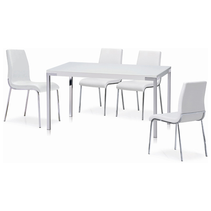 Cafe 5 Piece Dining Set - Rectangular Table, White Chairs