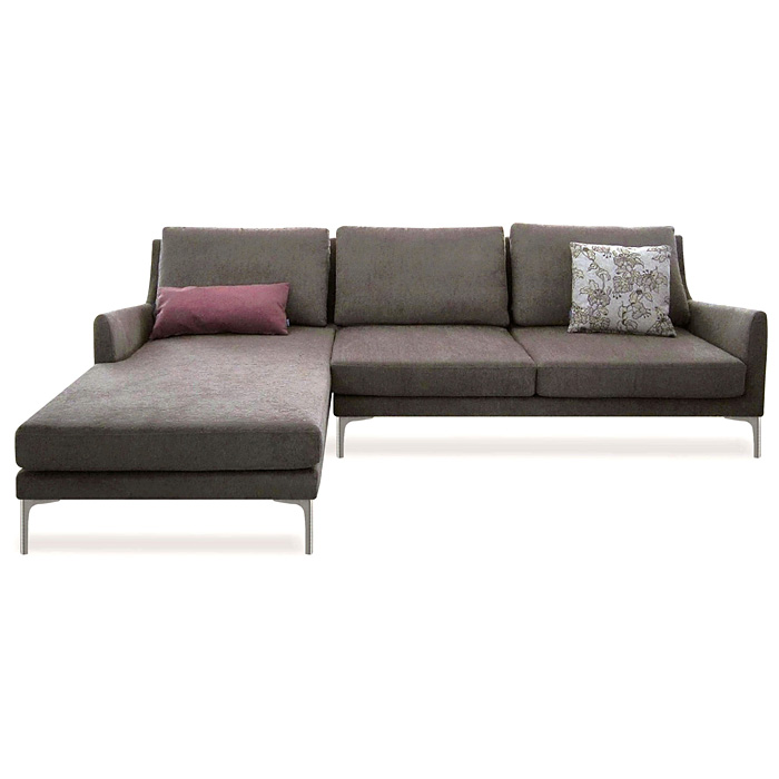Chicago Sectional Sofa - Sandstone Fabric, Left Facing Chaise