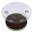 Cota Round Coffee Table - Swivel, Clear Glass, Wenge Wood