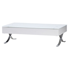 Cota Rectangular Coffee Table - High Gloss White, Glass, Drawer
