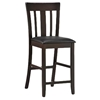 "Gretel 24"" Slat Back Counter Stool - Cappuccino, Black Seat"
