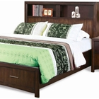 Edison Queen Storage Bed - Bookcase Headboard, Java Oak