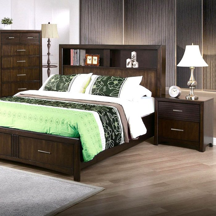 Edison 5 Piece Bedroom Set - Storage Bed, Java Oak, Queen