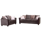 Madison Sofa & Loveseat - Dark Brown Fabric, Wood Legs