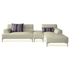 Manhattan Sectional Set - Cream Fabric, Right Facing Chaise
