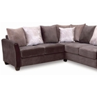Morgan Sectional Sofa - Dark Brown Fabric, Wood Legs