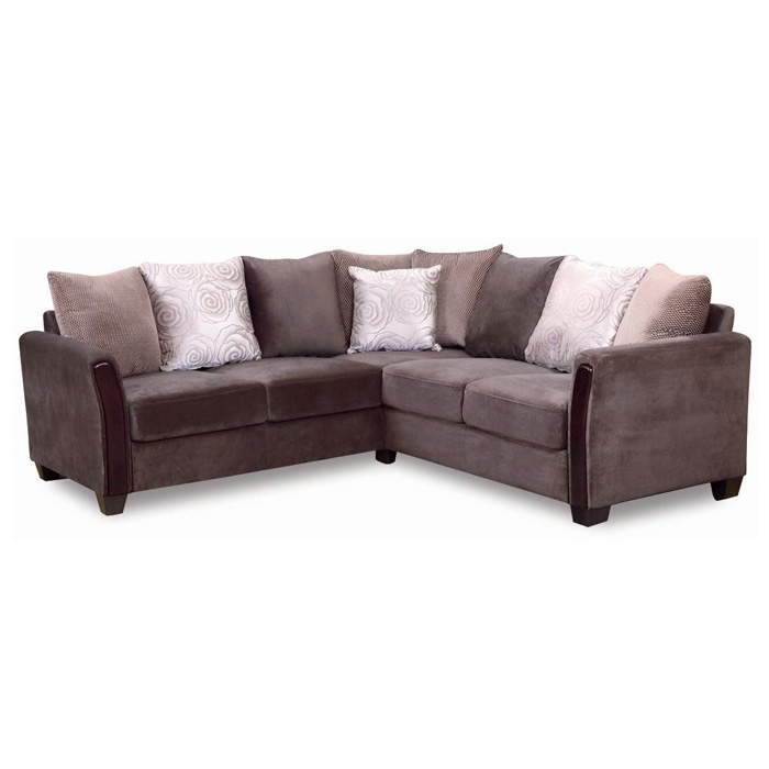 Morgan Sectional Sofa - Dark Brown Fabric, Wood Legs - NSI-437002